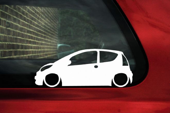 2x LOW Citroen C1 Lowered car silhouette stickers / decals